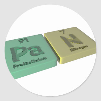 Cacerola como Protactinium del PA y nitrógeno de N Pegatina Redonda