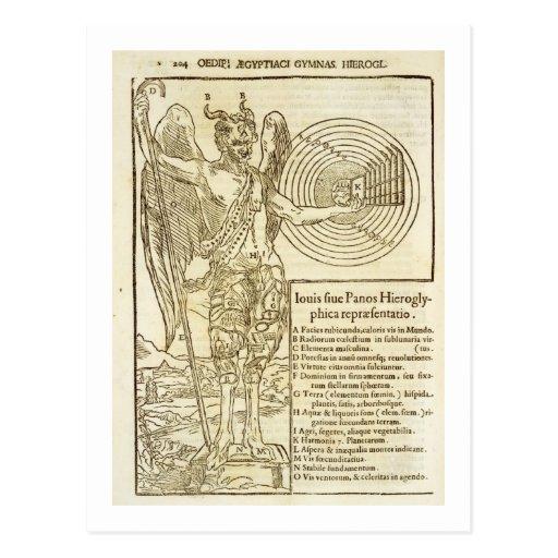 Cacerola, dios universal, y los elementos él tarjetas postales