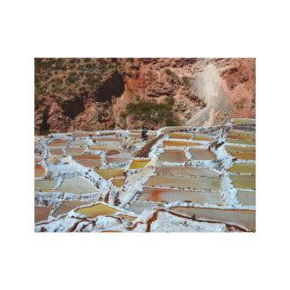 Cacerolas de la sal de Maras, Perú Lienzo Envuelto Para Galerías