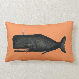 Cachalot whale antique vintage design cushion pillow