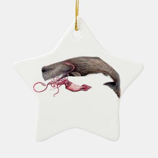 Cachalote and calamary ceramic ornament