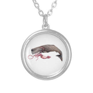 Cachalote and calamary silver plated necklace