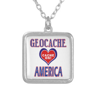 CACHE ON! GEOCACHE AMERICA! SQUARE PENDANT NECKLACE