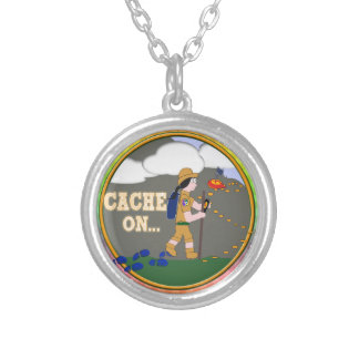 CACHE ON! GEOCACHING BLACK HAIR SILVER PLATED NECKLACE