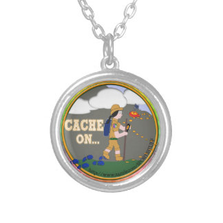 CACHE ON! GEOCACHING CHICK GIRL BLACK HAIR SILVER PLATED NECKLACE