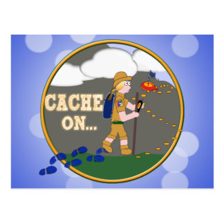 CACHE ON! GEOCACHING CHICK GIRL BLOND POSTCARD