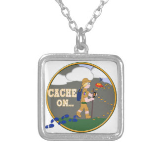 CACHE ON! GEOCACHING CHICK GIRL BLOND SILVER PLATED NECKLACE