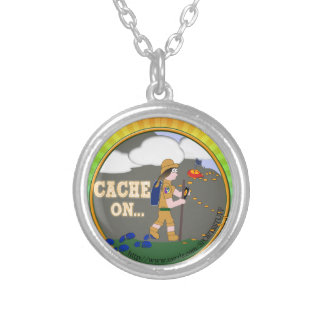 CACHE ON! GEOCACHING CHICK GIRL BRUNETTE SILVER PLATED NECKLACE