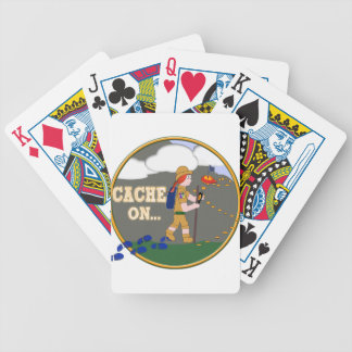 CACHE ON! GEOCACHING CHICK GIRL RED HAIR BICYCLE PLAYING CARDS