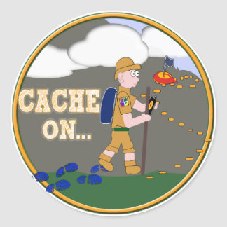 CACHE ON! GEOCACHING DUDE CLASSIC ROUND STICKER