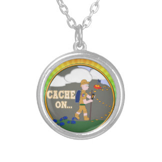 CACHE ON! GEOCACHING DUDE SILVER PLATED NECKLACE