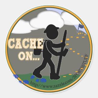 CACHE ON! GEOCACHING GEOCACHER CLASSIC ROUND STICKER
