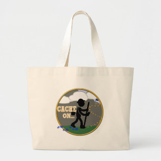 CACHE ON! GEOCACHING MOTTO RND CANVAS BAG