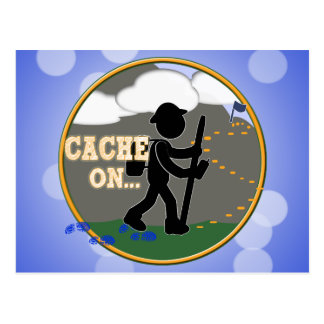 CACHE ON! GEOCACHING MOTTO RND POSTCARD