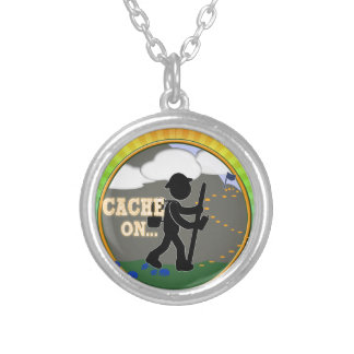 CACHE ON! GEOCACHING MOTTO RND SILVER PLATED NECKLACE
