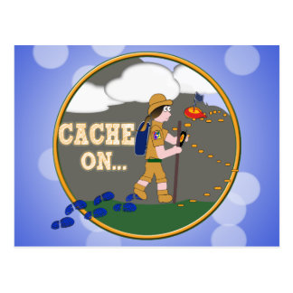 CACHE ON GIRL GEOCACHING POSTCARD