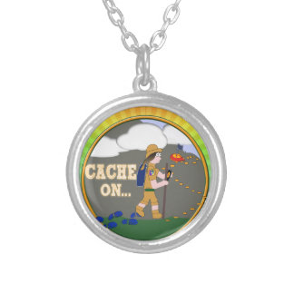 CACHE ON GIRL GEOCACHING SILVER PLATED NECKLACE