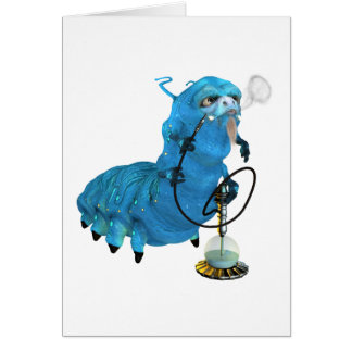 Cachimba que fuma Catterpillar azul Tarjeta De Felicitación