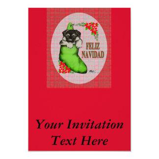 """Cachorrito Feliz Navidad Invitación 5"""" X 7"""""""