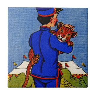 cachorro adorable del leopardo de los años 30 azulejo cuadrado pequeño