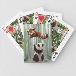 Cachorro de la panda roja y de oso de panda baraja cartas de poker