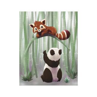 Cachorro de la panda roja y de oso de panda impresiones en lona
