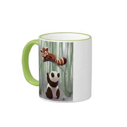 Cachorro de la panda roja y de oso de panda tazas