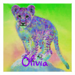 cachorro de león personalizable del arco iris poster