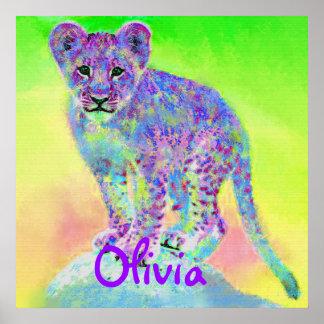 cachorro de león personalizable del arco iris póster