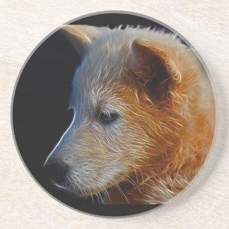 Cachorro de lobo del fractal del bebé posavasos de arenisca