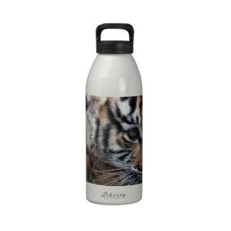 Cachorro de tigre de bebé que se acuesta botella de beber