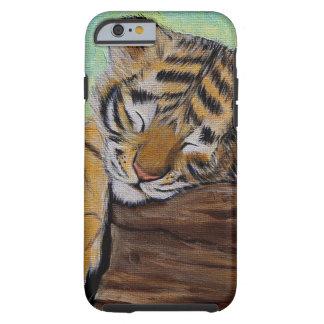 Cachorro de tigre soñoliento funda resistente iPhone 6