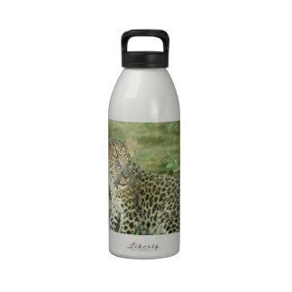 cachorro del leopardo botella de agua