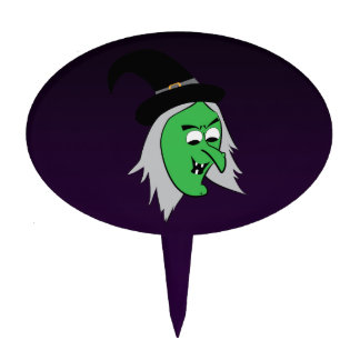 Cackling Witch Cake Pick in Purple