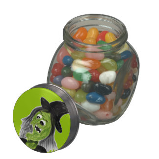Cackling Witch Candy Jar Glass Candy Jar