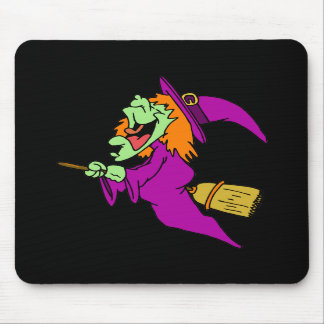 Cackling Witch on Broom Mouse Pad
