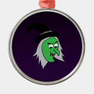 Cackling Witch Ornament in Purple