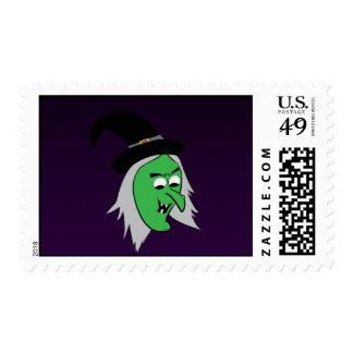 Cackling Witch Postage Stamp in Dark Purple