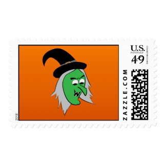 Cackling Witch Postage Stamp in Orange