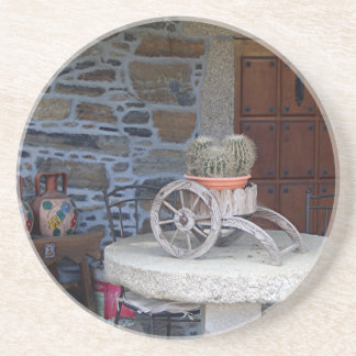 Cacti, cart, pots and table, Spain Coasters