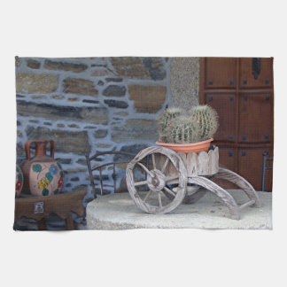 Cacti, cart, pots and table, Spain Hand Towel
