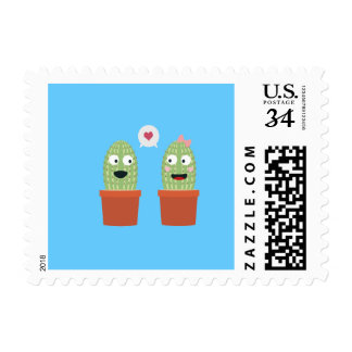 Cacti in love postage stamp