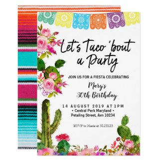 Cactus 30th Birthday Party Invitation
