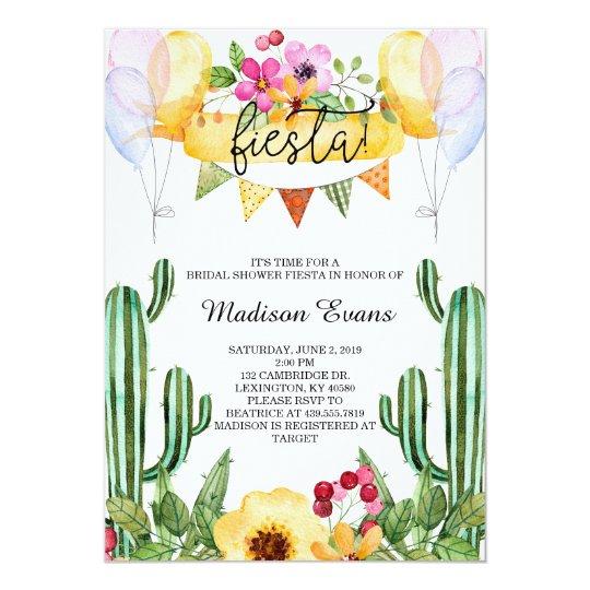 Cactus And Floral Bridal Shower Fiesta Invitation Zazzle Com