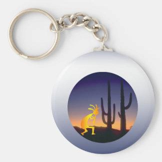 Cactus and Kokopelli Round Keychain