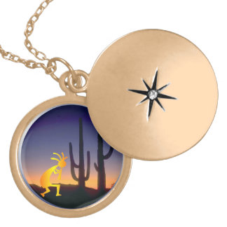 Cactus and Kokopelli Round Locket Necklace