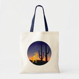 Cactus and Kokopelli Round Tote Bag