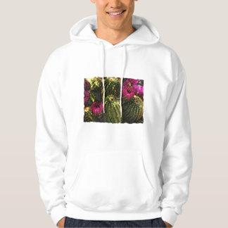 Cactus and Pink Flowers in Rough Pastels Hoodie
