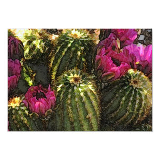 Cactus and Pink Flowers in Rough Pastels Announcement
