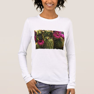 Cactus and Pink Flowers in Rough Pastels Long Sleeve T-Shirt
